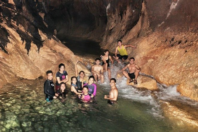 Our kind of refreshing underground bath at 8 in the evening. Photo by Agatha Ruadap.