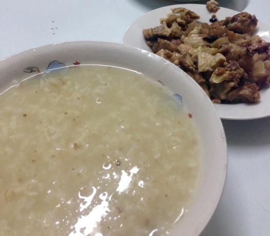 Eyeballs paired with rice porridge.