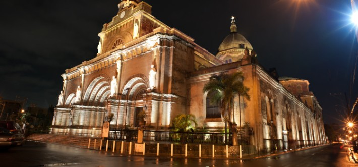 The well lit Manila Cathedral at night. (Photo by: Manila Cathedral-Basilica).