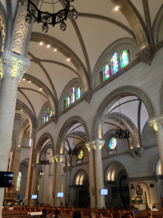 Shot from the left nave showing the vaulted ceiling, well lit interior and recent improvements in the cathedral.