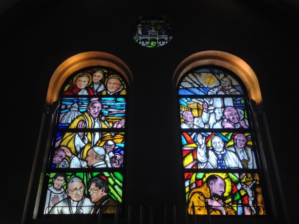 Stained glass details of the recent Papal visit to the Philippines of Pope Francis.