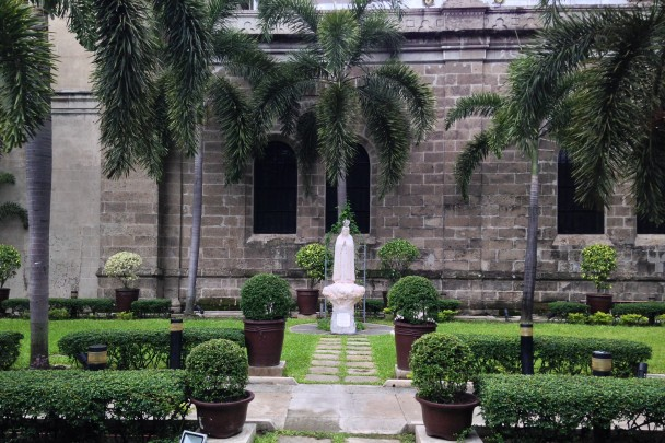 Our Lady of Fatima garden on the northern side of the cathedral.