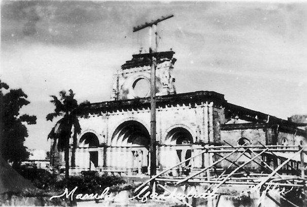 The ruins of Manila Cathedral after World War II.