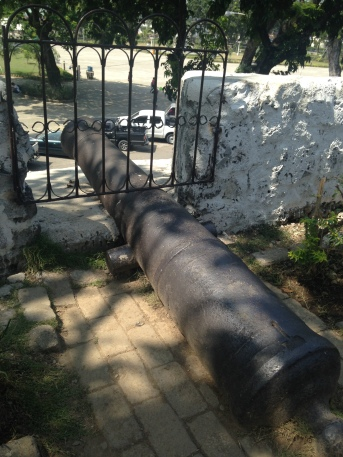 One of the fourteen cannons mounted in their emplacements, most of which are still there today.