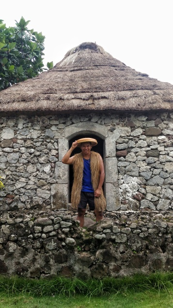 The male Ivatan OOTD. The kanayi is a vest made out of voyavoy leaves. This is worn by male Ivatans when they go fishing or farming to protect their backs from the heat of the sun. And to complete the gear, there's the salakot for my head.